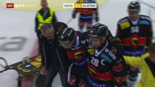 Video «Eishockey: zu Bern - Kloten, Verletzung Ebbett» abspielen
