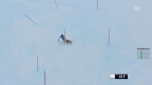 Video «Ski: Slalom Frauen Kühtai, 1. Lauf Shiffrin» abspielen