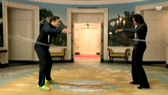 Michelle Obama hüpft sich zum Sieg