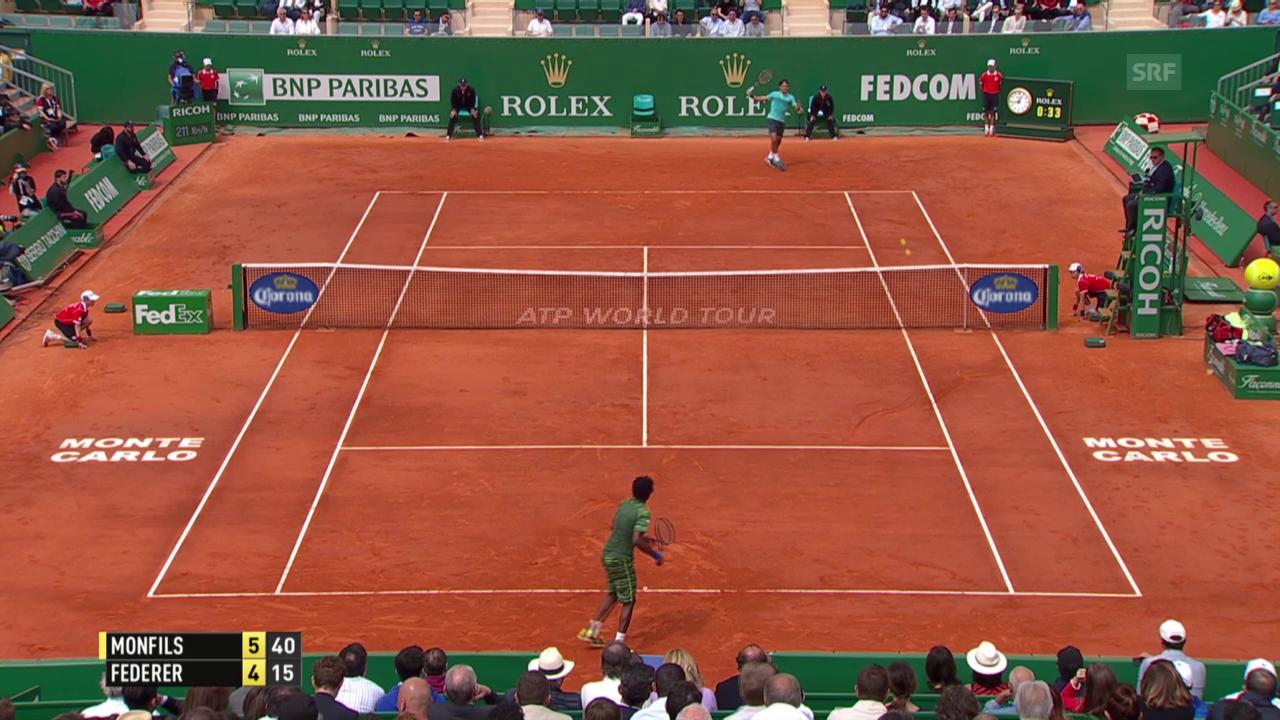Tennis: Monte Carlo, Monfils gewinnt 1. Satz gegen Federer