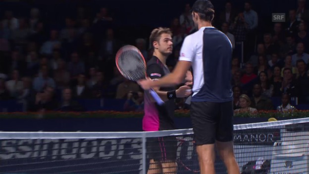 Video «Tennis: Swiss Indoors Basel 2015, 1. Runde, Wawrinka - Karlovic» abspielen
