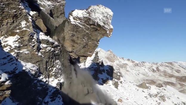 Laschar ir video «In Evolène sind über 6000 Tonnen Gestein sind ins Tal gedonnert»