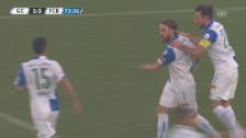 Video «Fussball: GC-Basel, Langs wunderschöner Anschlusstreffer» abspielen