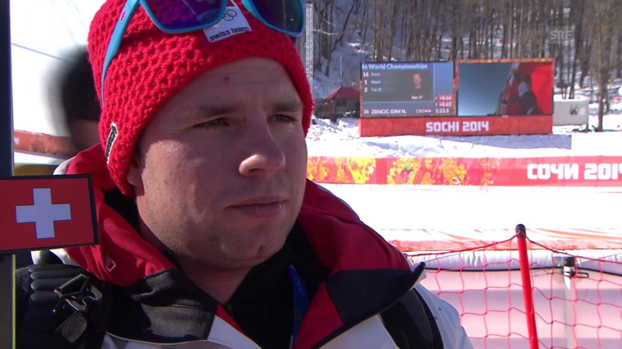 Sotschi, Ski alpin: 1. Abfahrtstraining der Männer, Interview mit Beat Feuz