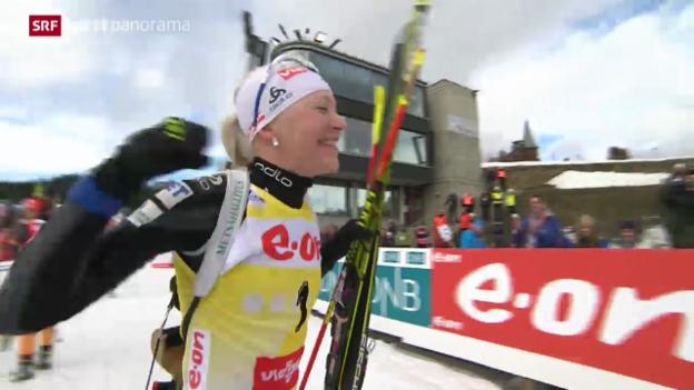 Video «Biathlon: Massenstart Frauen in Oslo» abspielen