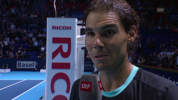 Video «Tennis: Swiss Indoors, Rafael Nadal im Platzinterview» abspielen