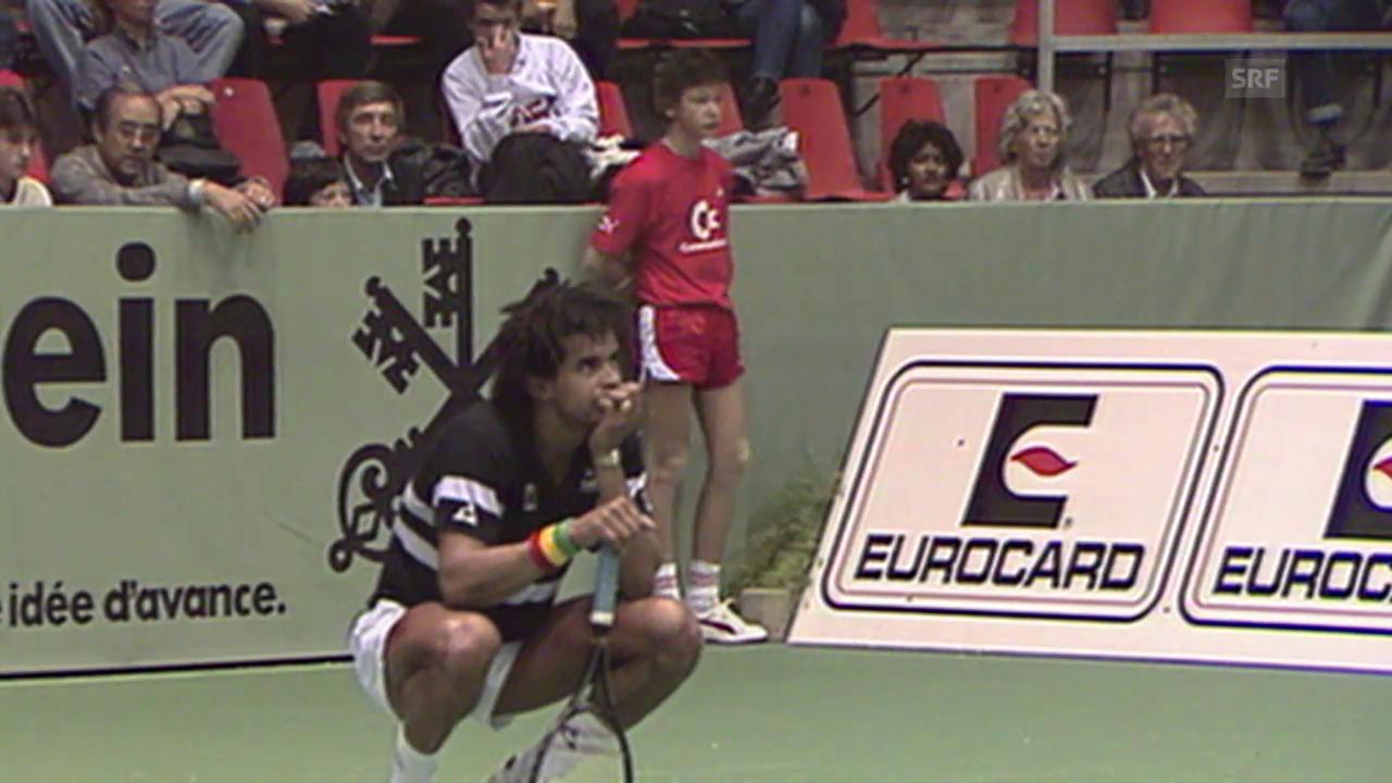 Tennis: Swiss Indoors, Noah und Edberg scherzen 1986