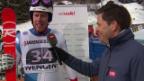 Video «Marc Gisin gibt nach seinem ansprechenden Kombi-Slalom im Zielraum von Wengen ein Interview» abspielen