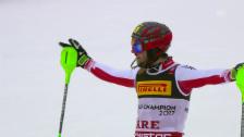 Link öffnet eine Lightbox. Video Österreichischer Dreifachsieg beim WM-Slalom in Are abspielen