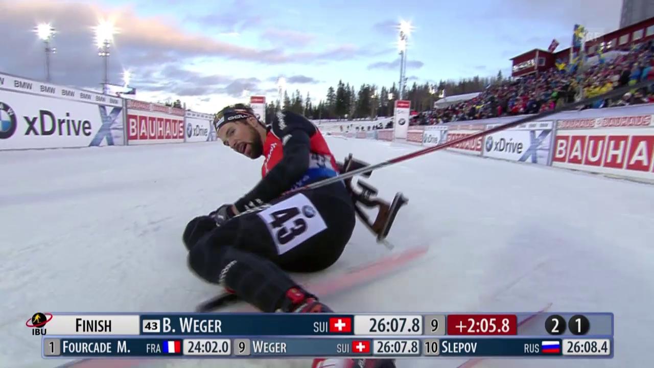 Biathlon: Wegers Zieleinlauf