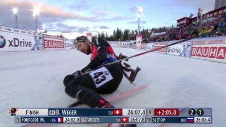 Video «Biathlon: Wegers Zieleinlauf» abspielen