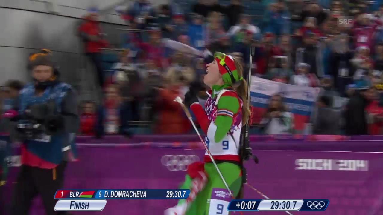 Biathlon: Zieleinlauf Verfolgung der Frauen (sotschi direkt, 11.02.2014)