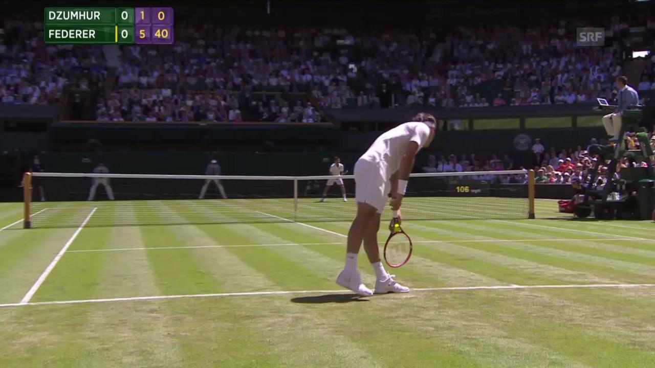 Tennis: Wimbledon, Federer - Dzumhur, 1. Satzball Federer
