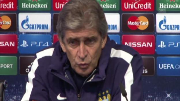 Video «Fussball: ManCity-Coach Manuel Pellegrini an der Medienkonferenz (Quelle: EVS)» abspielen