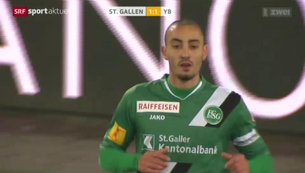 Video «Fussball: Super League, St. Gallen - YB, das letzte Tor von Stéphane Nater für St. Gallen» abspielen