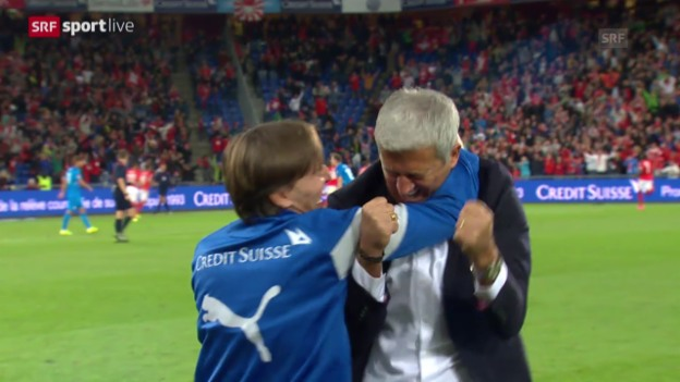 Video «Fussball: EM-Quali, Vladimir Petkovic Jubel» abspielen