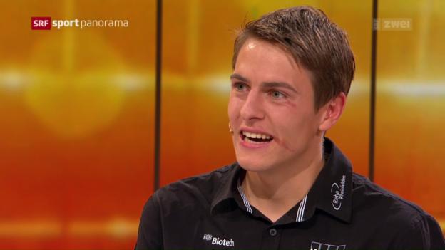 Video «Matthias Kyburz' Auftritt im «sportpanorama»» abspielen