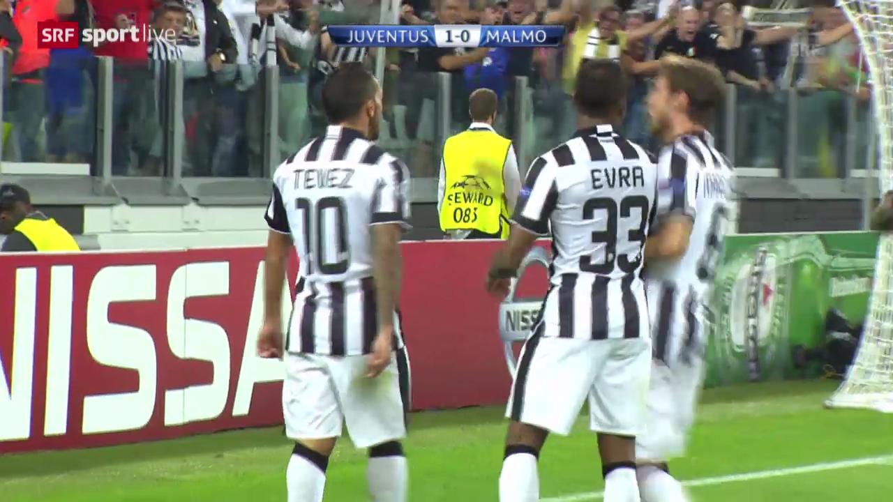 Fussball: Champions League, Carlos Tevez' Treffer gegen Malmö