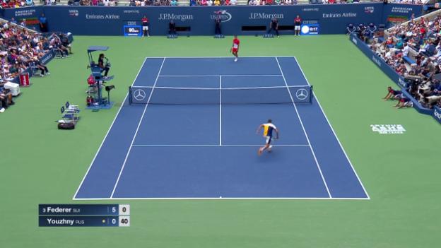 Video «Frecher Federer: 3 erfolgreiche Stoppbälle in Folge» abspielen