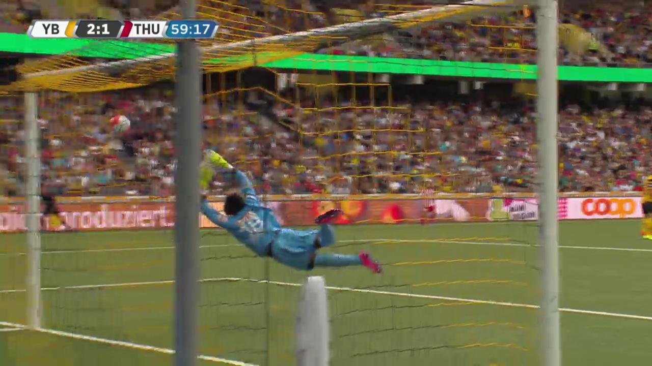 Fussball: Super League, 4. Runde, Young Boys - Thun, Pfostenschuss Schindelholz