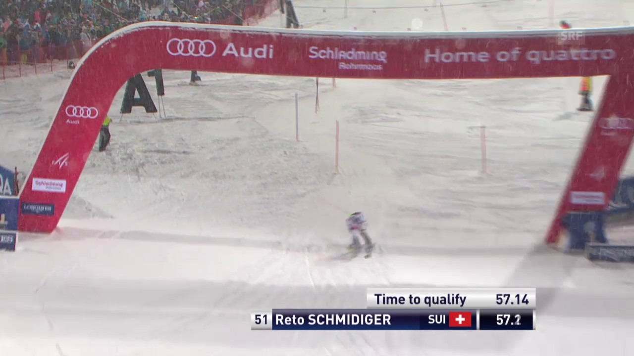 Ski Alpin: Slalom in Schladming, 1. Lauf Schmidiger