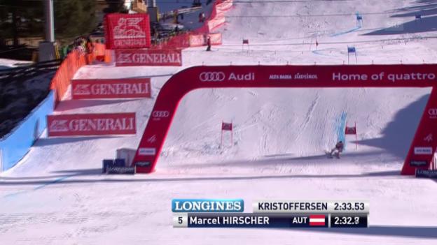 Video «Ski: Riesenslalom Alta Badia, 2. Lauf Marcel Hirscher» abspielen