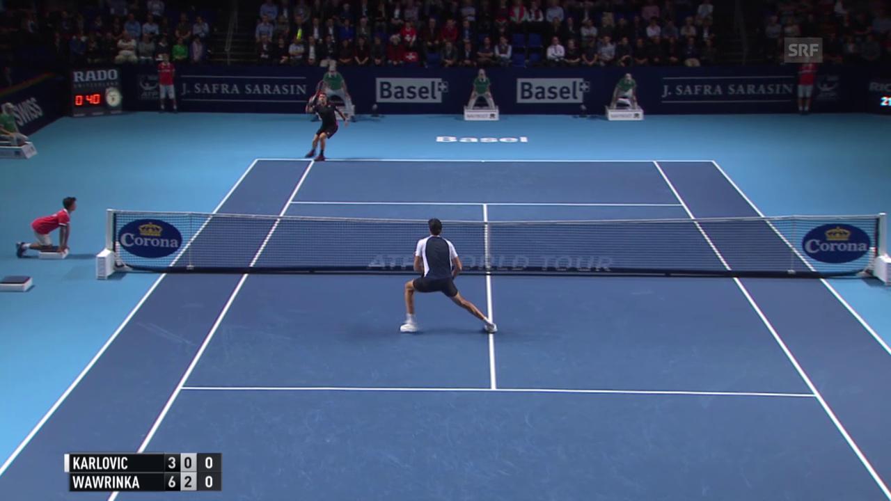 Tennis: ATP-Turnier in Basel, 1. Runde, Wawrinka - Karlovic, Lob-Winner Wawrinka