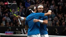 Link öffnet eine Lightbox. Video Federer/Nadal gewinnen im Doppel abspielen