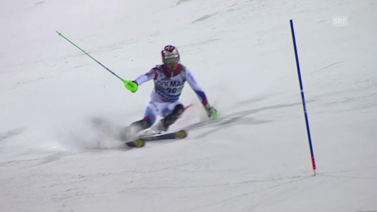 Ski: Slalom Männer, Madonna di Campiglio, 1. Lauf Luca Aerni