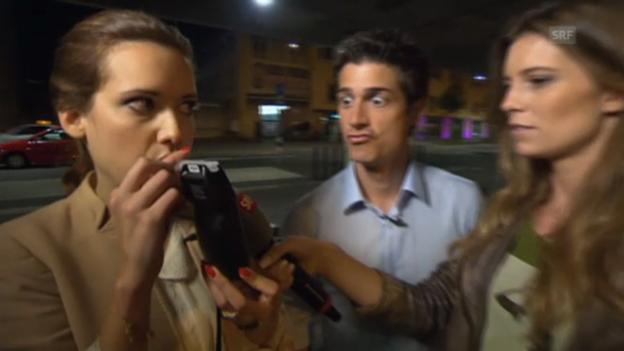 Video «Tobias Müller und Sara Hildebrand testen ihre Trinkfestigkeit» abspielen
