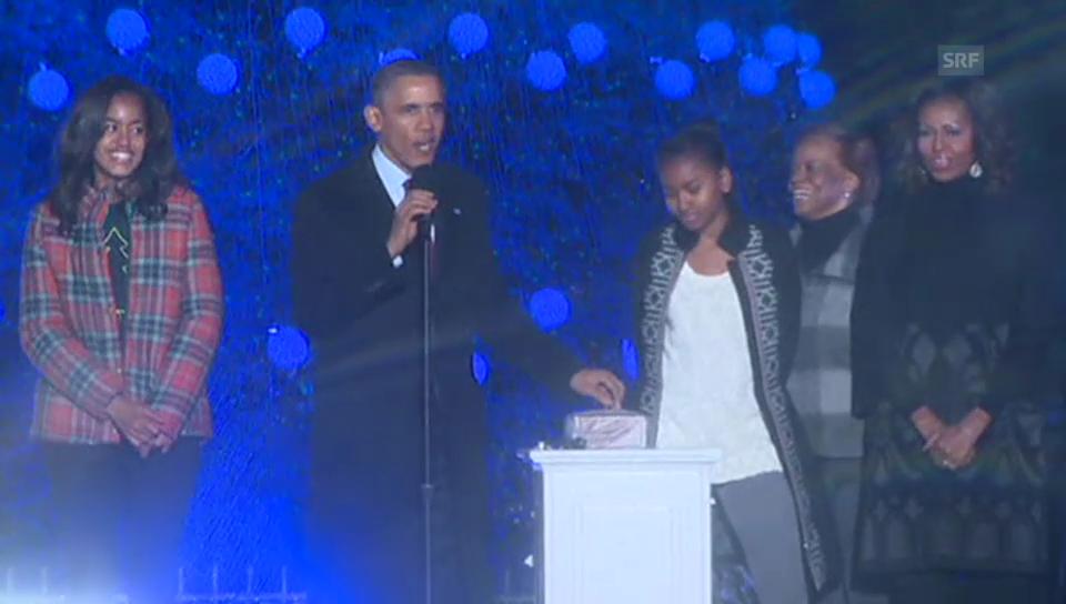 Barack Obama entzündet die Weihnachtsbeleuchtung