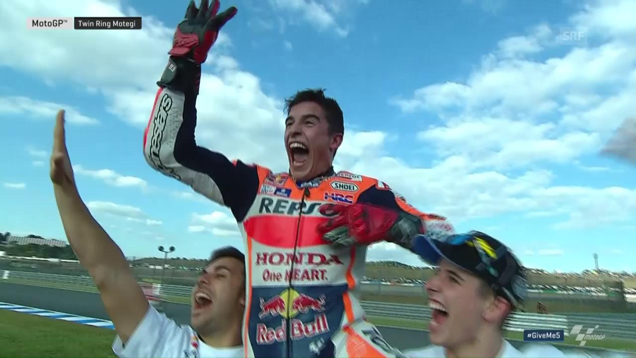 So bejubelt Marquez seinen 3. MotoGP-Titel