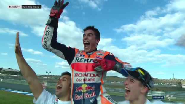 Video «So bejubelt Marquez seinen 3. MotoGP-Titel» abspielen