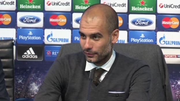 Video «Fussball: Pep Guardiola an der PK nach dem Spiel gegen ManCity» abspielen