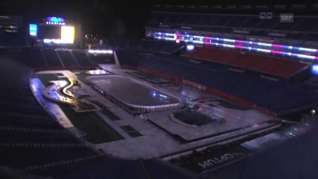 Video «Eishockey: NHL, Winter Classic, Verwandlung Stadion im Zeitraffer (Quelle: SNTV)» abspielen