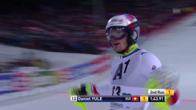 Video «Daniel Yule eröffnet den 2. Lauf in Schladming» abspielen