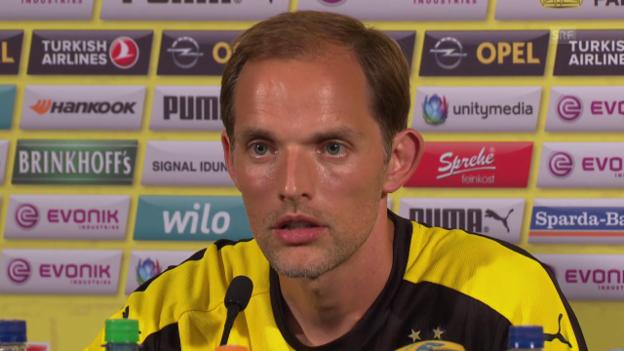 Video «Fussball: BVB-Trainer Thomas Tuchel über die Torhüter-Situation beim BVB» abspielen