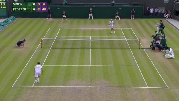 Video «Tennis: Wimbledon, Viertelfinal Federer - Simon, Winner zum 3:0» abspielen