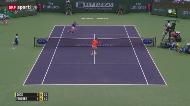 Video «Tennis: ATP-Turnier in Indian Wells, Achtelfinal, Federer - Sock» abspielen