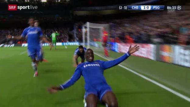 Video «Fussball: CL, Viertelfinal-Rückspiel, Chelsea-PSG, Tor von Demba Ba («sportlive»)» abspielen