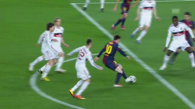 Video «Fussball: Messis 1:0 gegen Milan» abspielen