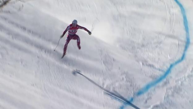 Video «Aleksander Kilde verliert auf der Olympia-Strecke einen Ski» abspielen