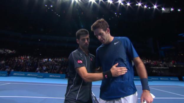 Video «Tennis: Djokovic - Del Potro (Satzbälle und Matchball)» abspielen