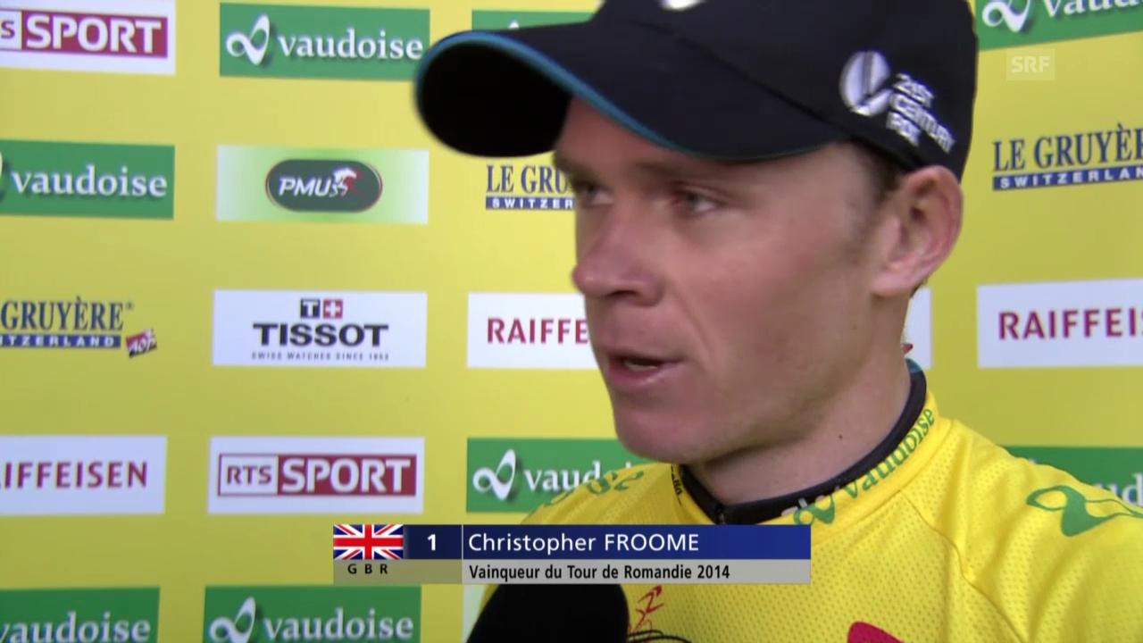 Rad: Tour de Romandie, 5. Etappe, Siegerinterview mit Chris Froome (englisch)