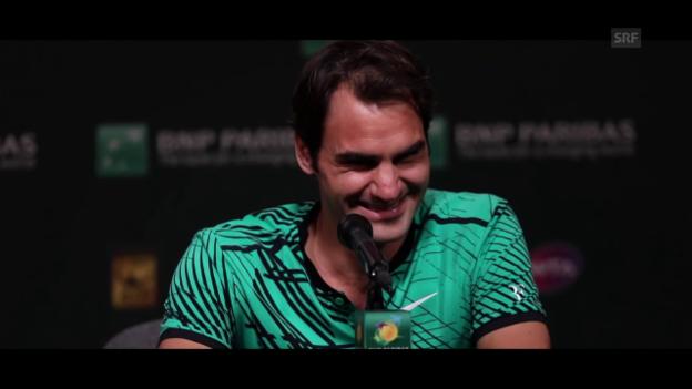 Video «Federer beantwortet geduldig Kinderfragen» abspielen