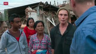 Video «Nepal: Überlebende Ausländer packen mit an» abspielen
