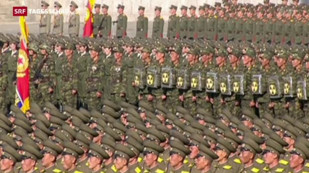 Video «Militärisches Defilee in Nordkorea» abspielen