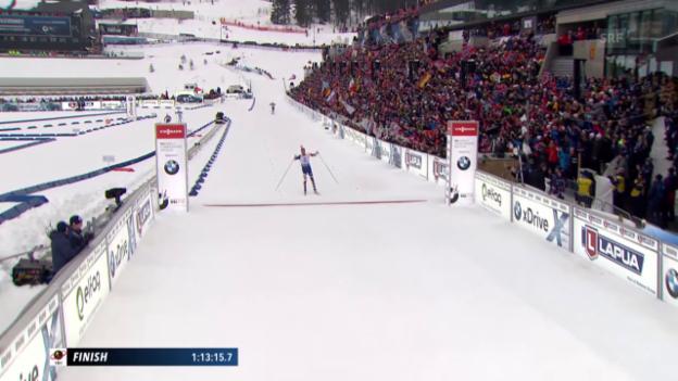 Video «Triumphaler Einlauf für Norwegens Staffel» abspielen