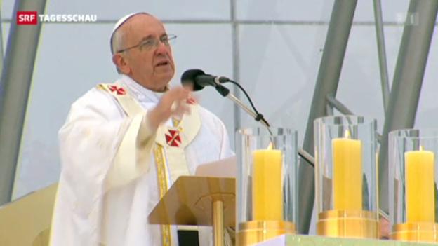 Video «Papst Franziskus in Brasilien (Tagesschau vom 28.07.2013)» abspielen