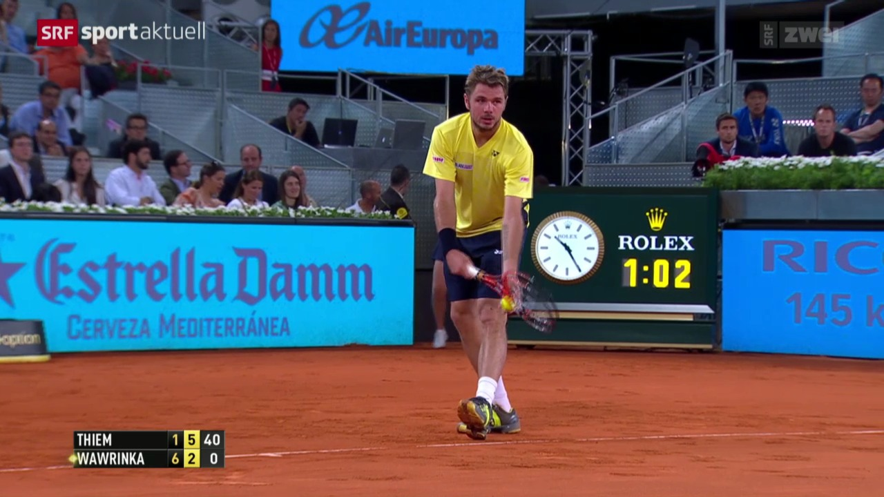 Tennis: ATP 1000 Madrid, Wawrinka - Thiem